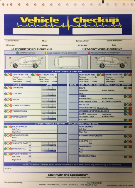 free shipping on all multi point inspection forms