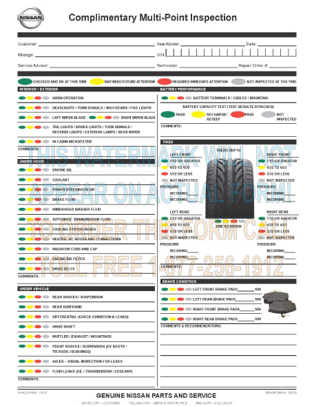 Nissan Vehicle Inspection Report Card