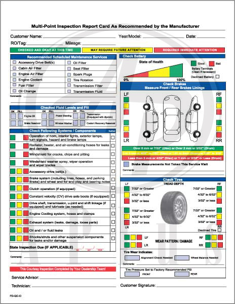 Ford Multi Point Inspection Forms Pdf