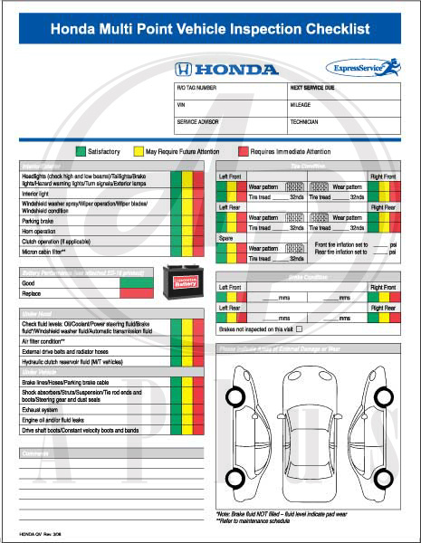 Honda Multi Point Vehicle Inspection Forms